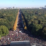 In this October 10, 2015 photograph taken from atop Berlin's Victory Column, a seemingly endless crowd of protesters attending a rally against the TTIP trade deal can be seen stretching into the distance. Organizers estimate about 250,000 people attended the historic rally. (Endarken)