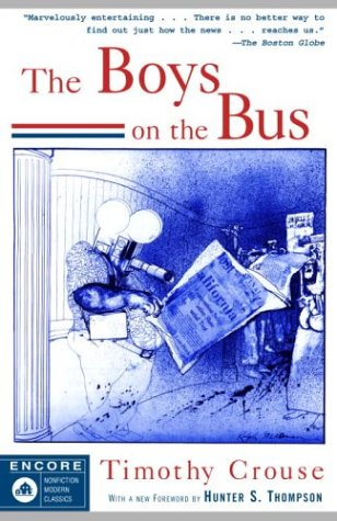 This is the front cover art for the book The Boys on the Bus written by Timothy Crouse. The book cover art copyright is believed to belong to the publisher or the cover artist.