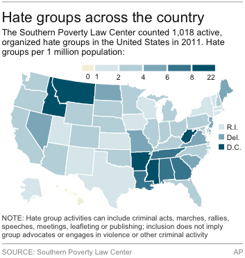 Map Shows Active Hate Groups Per 1 Million Population In Each State