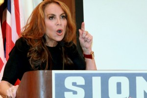 "In this Sept. 11, 2012 photo, anti-Islamic blogger Pamela Geller, speaks at a conference she organized entitled; ""Stop Islamization of America,"" in New York. An advertising campaign initiated by Geller's group, ""The American Freedom Defense Initiative,""€ will have its ads that equate foes of Israel with ""€œsavages"" appearing in 10 New York City subway stations after a federal judge ordered the Metropolitan Transportation Authority to put them up. (AP Photo/David Karp)"