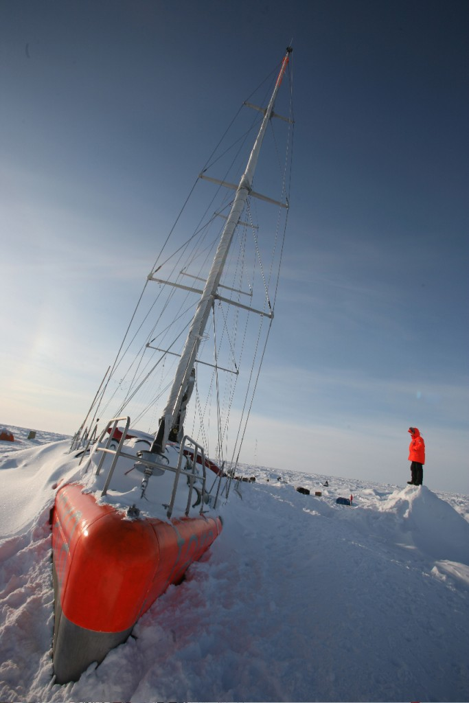 In this photo, Tara is stuck in the arctic ice during the Arctic expedition. (Photo F. Latreille - Tara Expeditions)