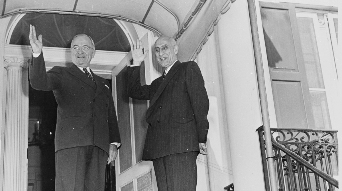 U.S. President Harry Truman, left, and Iranian Prime Minister Mohammad Mossadegh, right, stand together on Oct. 23, 1951. The coup d'état that led to the democratically elected Mossadegh's ouster two years later was orchestrated by the U.S. CIA, declassified documents confirm. (Photo/Abbie Rowe via Wikimedia Commons)