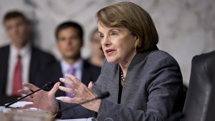 Senate Intelligence Committee Chair Sen. Dianne Feinstein, D-Calif., asks questions about the fate of prisoners at the Guantanamo Detention Center during a hearing by the Senate Judiciary subcommittee on Constitution, Civil Rights & Human Rights, Wednesday, July 24, 2013, on Capitol Hill in Washington.  (AP Photo/J. Scott Applewhite)