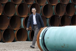 This March 22, 2012 file photo shows President Barack Obama arriving at the TransCanada Stillwater Pipe Yard in Cushing, Okla. (AP Photo/Pablo Martinez Monsivais).