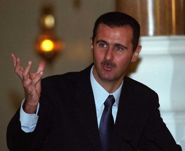 A young 35 year old Bashar al Assad takes over the helm after his father hafez al Assad dies in June 2000. Photo Norbert Schiller)