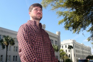 Andrew Kispert, a 27-year-old Marine veteran who is now attending The Citadel, poses on the campus of the military college in Charleston, S.C., on Friday, April 4, 2014. Over the next few years thousands of veterans are expected to attend college as the wars in Iraq and Afghanistan wind down and the military downsizes.  (AP Photo/Bruce Smith)