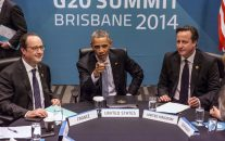 President of France Francois Hollande, U.S. President Barack Obama, Britain's Prime Minister David Cameron and Germany's Chancellor Angela Merkel attend the Transatlantic Trade and Investment Partnership (TTIP) meeting at the G20 the G-20 leaders summit in Brisbane, Australia