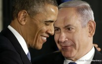 President Barack Obama and Israeli Prime Minister Benjamin Netanyahu huddle during a joint news conference in Jerusalem, Israel.