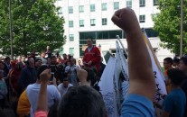 Penobscot Chief Kirk Francis at a May 26 rally outside of the Maine Statehouse. Photo Courtesy Sherri Mitchell, Native News Online.