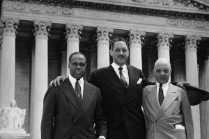 George E. C. Hayes, Thurgood Marshall, and James M. Nabrit congratulate each other on the Brown decision.