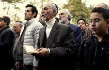 Iranian Jews pray in Hebrew during a gathering of Iran's Jewish community