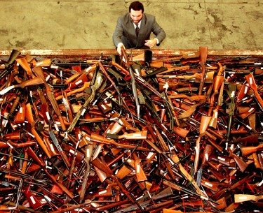 A pile of about 4,500 firearms that were handed over as part of Australia's buyback. David Gray/Reuters