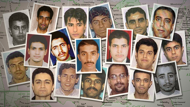 A photo montage of the 19 9/11 hijackers, 15 of which were Saudi citizens.