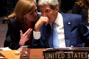 United States Secretary of State John Kerry speaks with United States Ambassador Samantha Power during the United Nations Security Council at the United Nations headquarters Wednesday, Sept. 30, 2015. During the meeting, Kerry delivered remarks encouraging the international community to end the conflict in Syria. (AP Photo/Kevin Hagen)
