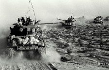 Israeli Sherman M4 tanks are seen moving towards the Sinai during Israel's invasion of the Sinai in the six day war of Israel, June 6, 1967. (AP Photo)