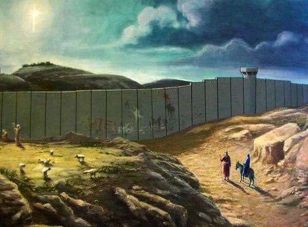 On Banksy's Christmas Card Joseph And Mary Can't Make It To Bethlehem Because of Police State