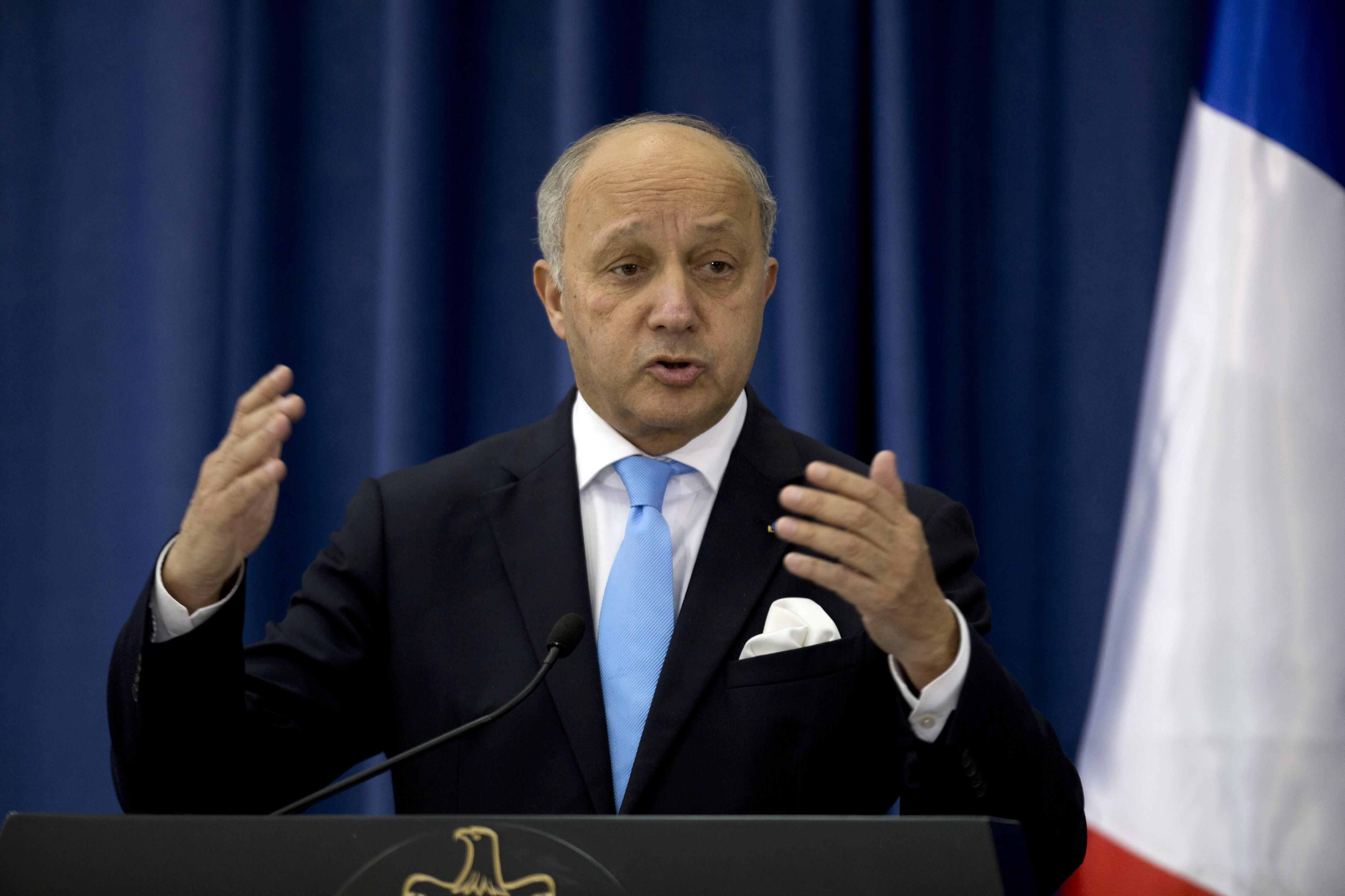 French Foreign Minister Laurent Fabius speaks during a press conference with Palestinian Foreign Minister Riyad Al-Maliki in the West Bank city of Ramallah, Sunday, June 21, 2015. (AP Photo/Majdi Mohammed)