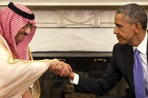 President Barack Obama shakes hands with Saudi Arabia's Crown Prince Mohammed bin Nayef during their meeting in the Oval Office of the White House in Washington, Wednesday, May 13, 2015. (AP Photo/Jacquelyn Martin)