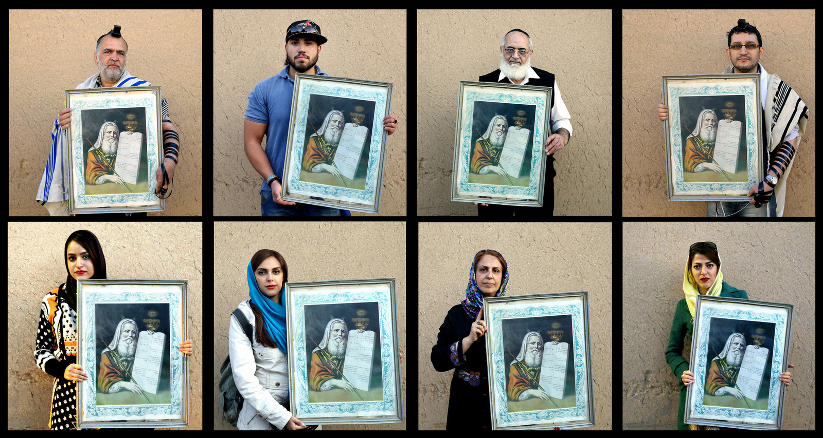 "In this Nov, 2014 combo image made up of 8 photos, Iranian Jews pose for photographs holding a painting of Moses with ""The Ten Commandments,"" after prayers at the Molla Agha Baba Synagogue, in the city of Yazd 420 miles (676 kilometers) south of capital Tehran. Iran has been home to Jews for more than 3,000 years, and has the Middle East's largest Jewish population outside of Israel, a perennial foe of the country. (AP Photo/Ebrahim Noroozi)"