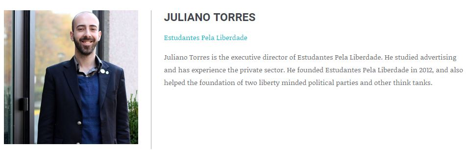 (Click to Expand) The bio of Juliano Torres from the Atlas Network website.