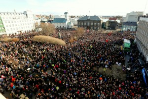 People who gather to demonstrate against Iceland's prime minister after allegations of corruption surfaced following the release of the Panama Papers, in Reykjavik. (AP/Brynjar Gunnarsson)