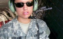 Emily Vorland on board a CH-47 helicopter at Fort Hood. Emily Vorland on board a CH-47 helicopter. The ex-army lieutenant appealed against her discharge for conduct unbecoming after reporting sexual harassment by a superior but was rejected. Photograph: Human Rights Watch