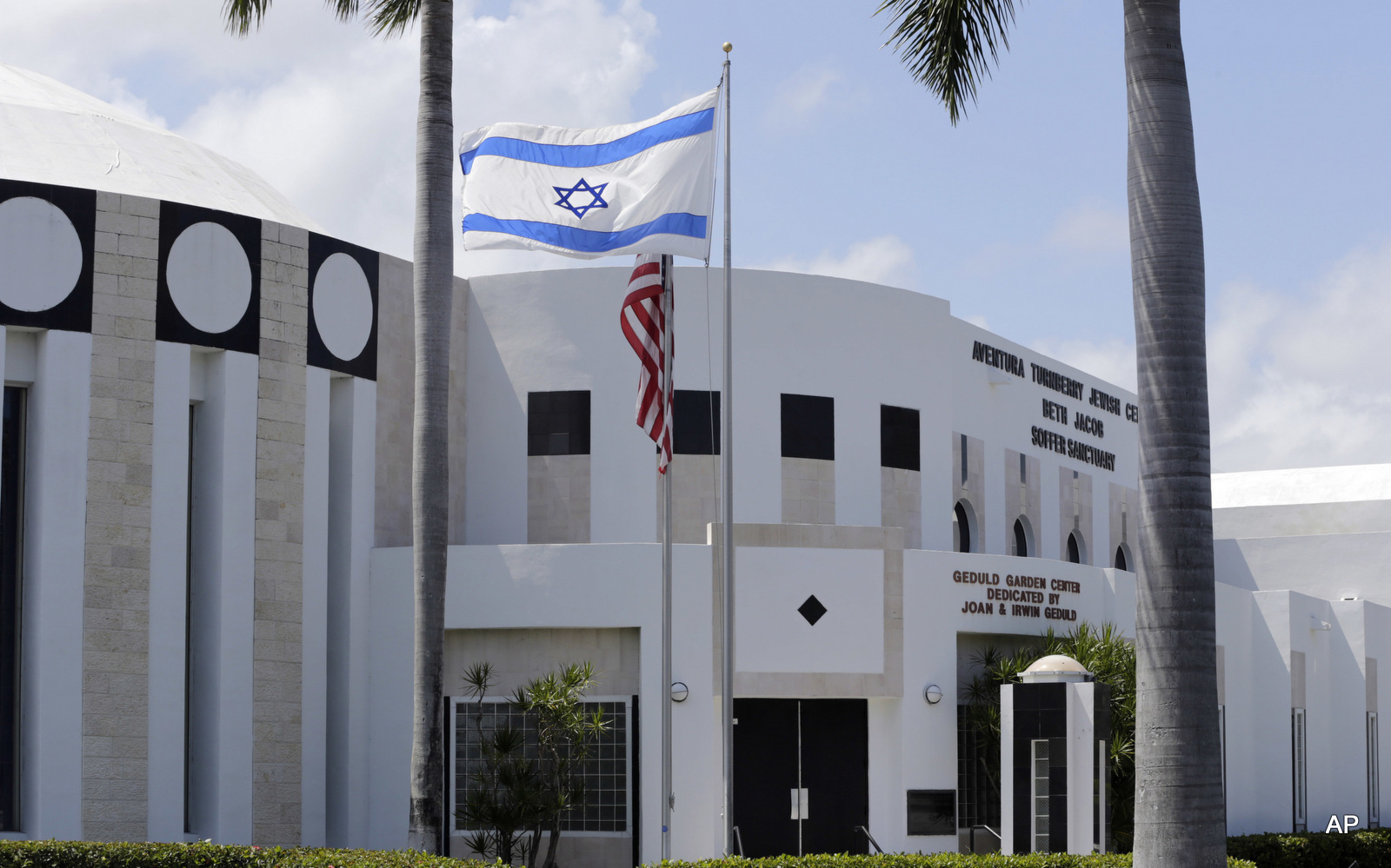 The Aventura Turnberry Jewish Center is viewed Monday, May 2, 2016, in Miami. Authorities said Monday, May 2, 2016, that a planned explosive attack on the center was thwarted by the FBI through an undercover operation involving a dummy bomb. (AP Photo/Lynne Sladky)