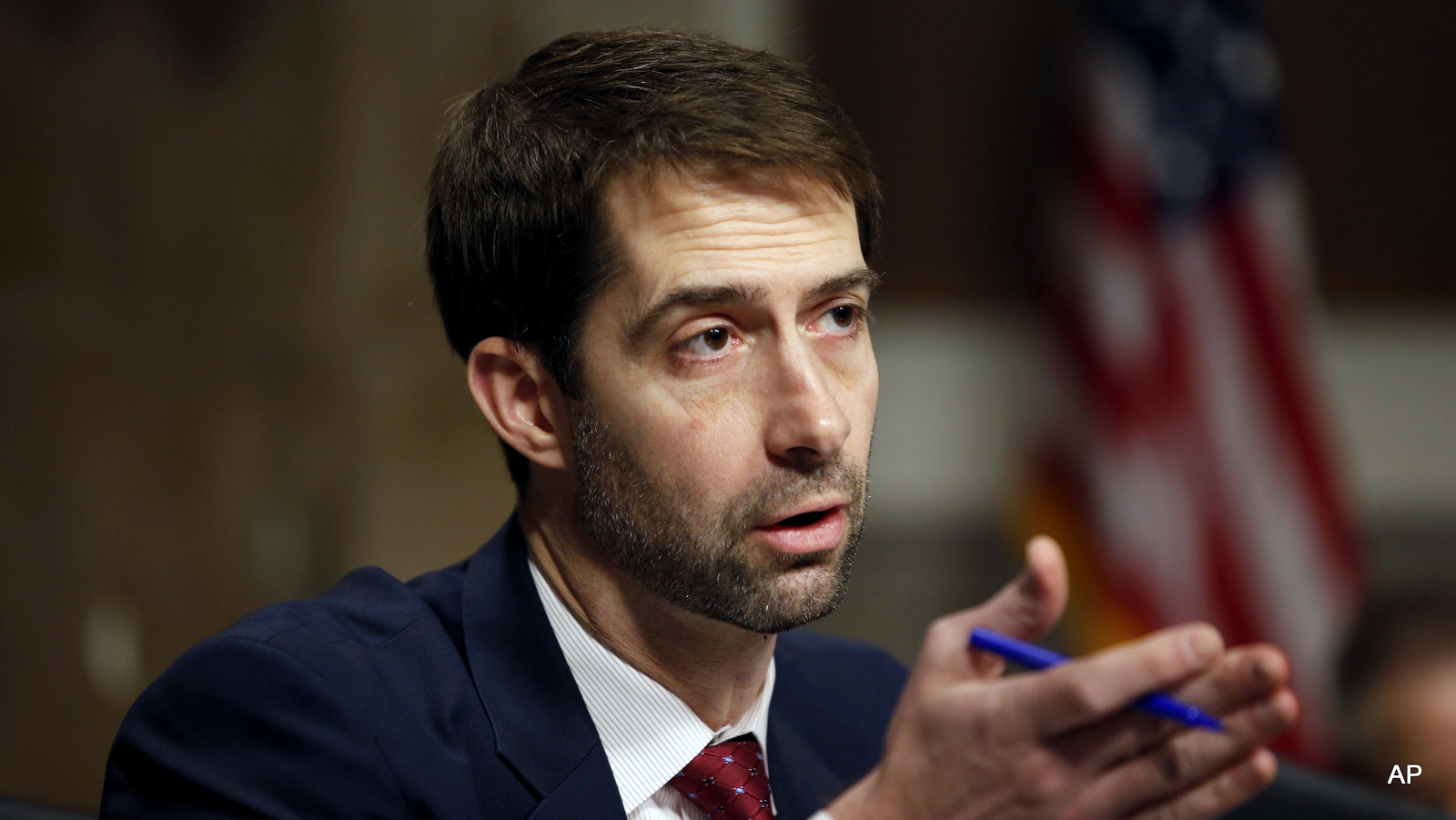 Sen. Tom Cotton, R-Ark. speaks on Capitol Hill in Washington. )