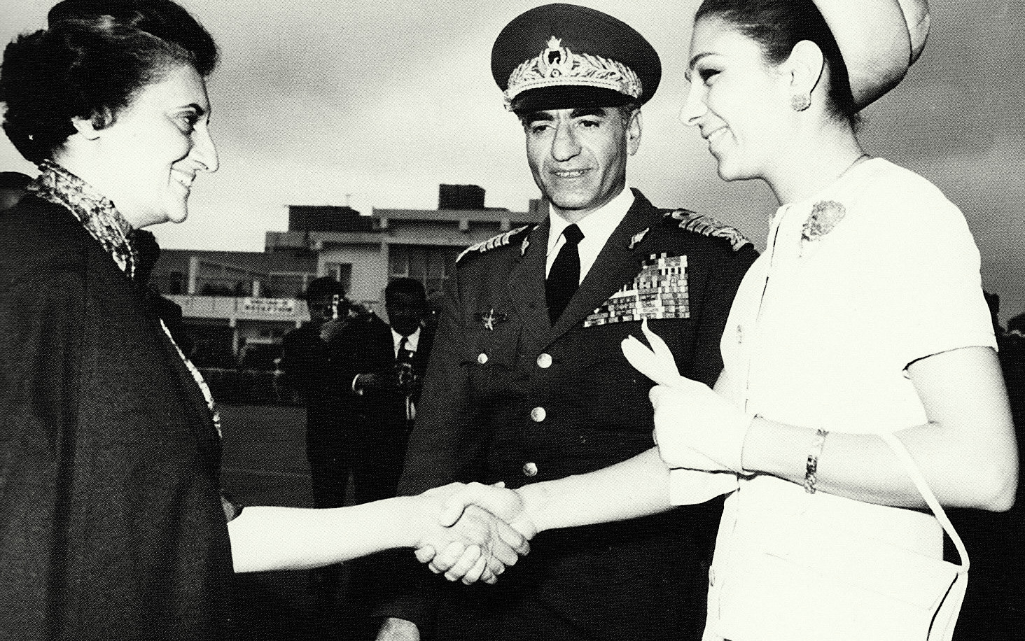 CIA installed dictator Mohammad Reza Pahlavi and Schahbanu Farah Pahlavi meet Prime Minister Indira Ghandi, state visit in India, 1970.