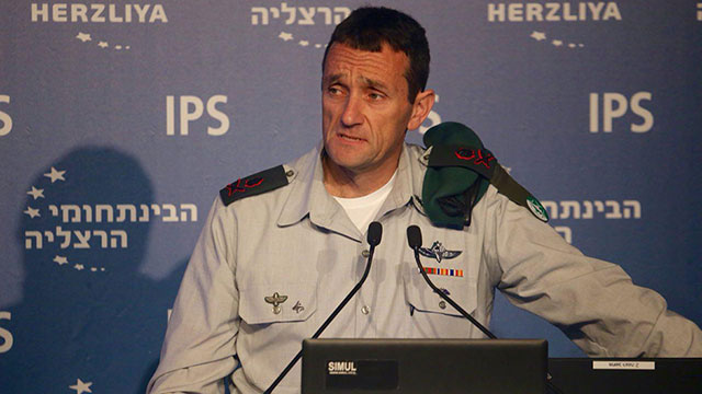 Israel's military intelligence chief Major General Herzi Halevy speaks at the Herzliya Conference.