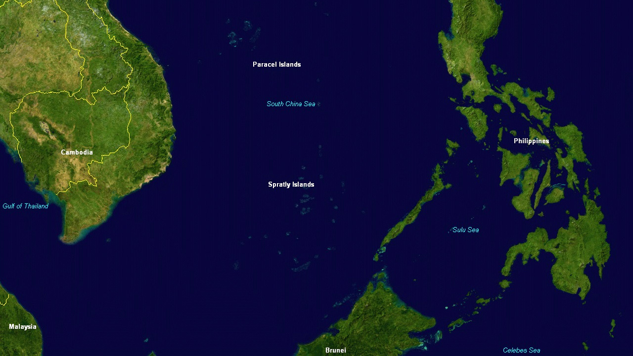 The location of the Spratly and Paracel Islands in the South China Sea