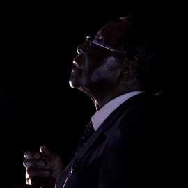 Zimbabwean President, Robert Mugabe, addresses party supporters at a rally in Bindura about 100 kilometres north east of Harare, Friday, July 8, 2016.