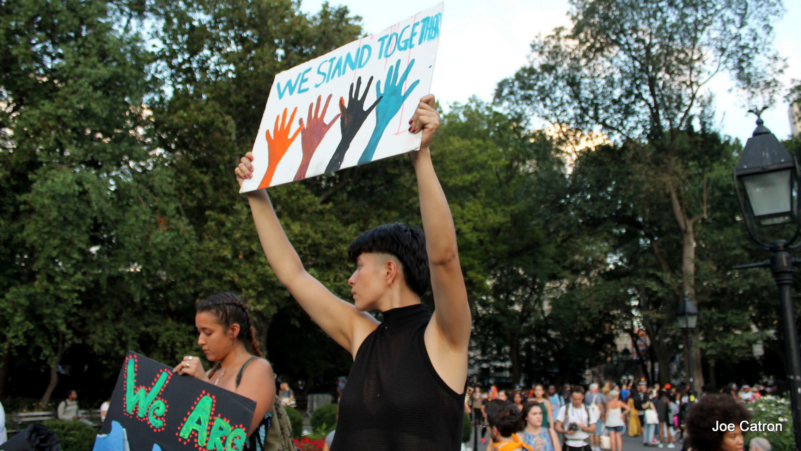 Hundreds rally Washington Square Park in New York to support Native land and water defenders opposing the Dakota Access Pipeline in Standing Rock, North Dakota on Friday. September 9, 2016.