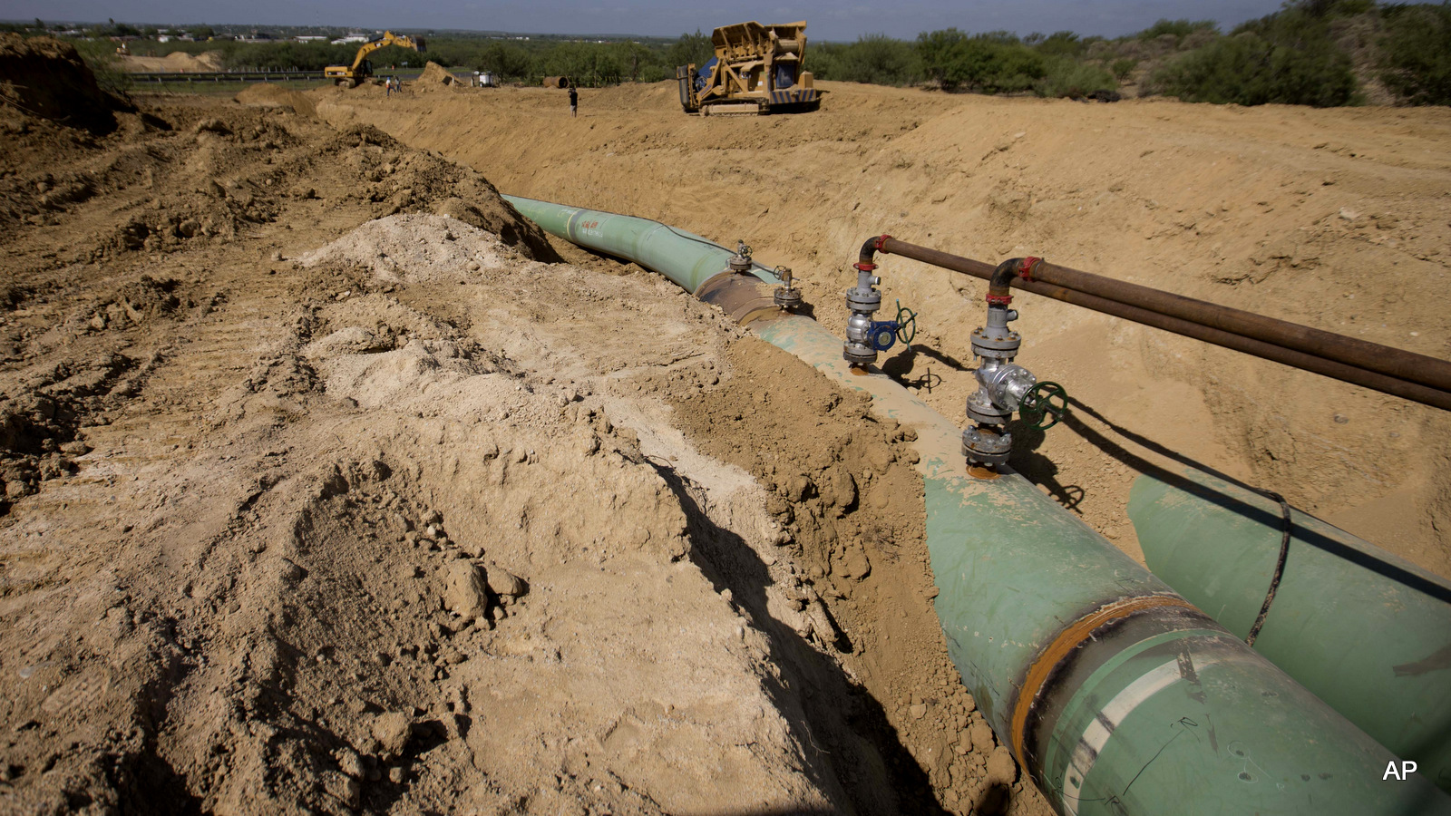 Pipelines to carrying gas from Texas to Mexico, eventually reaching the city of Guanajuato, are laid underground near General Bravo, in Nuevo Leon state, Mexico.