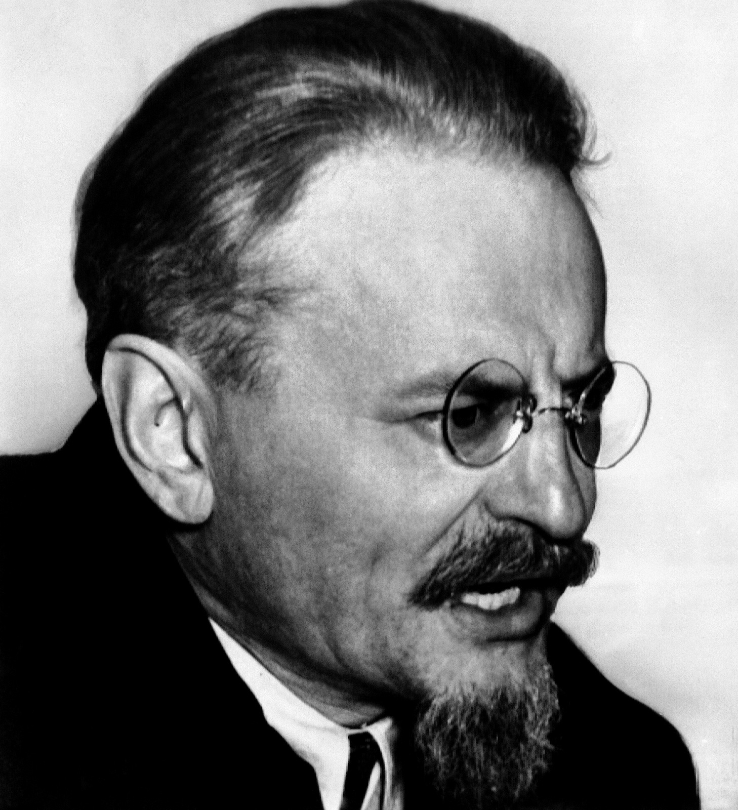 Leon Trotsky, one time Bolshevist interviewed at his villa in Coyocan, Mexico, where he lives and works in exile under heavy guard, March 10, 1937. (AP Photo)