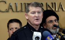 Los Angeles Police Deputy Chief Michael Downing speaks during a news conference at the Islamic Center of Southern California in Los Angeles, Monday, Nov. 28, 2016. Government officials have condemned a hate-filled letter received by several mosques that said Muslims would be exterminated by President-elect Donald Trump. (AP Photo/Nick Ut)