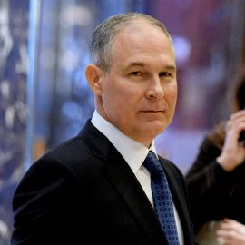 Attorney General Scott Pruitt (Republican of Oklahoma) is seen in the lobby of the Trump Tower in New York, New York, on November 28, 2016. Credit: Anthony Behar / Pool via CNP /MediaPunch/IPX