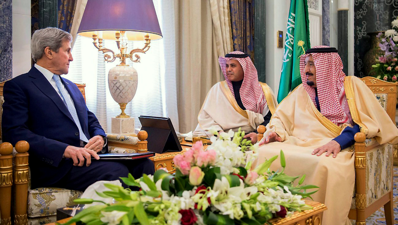 U.S. Secretary of State John Kerry, left, meets with Saudi King Salman right, in what likely will be his last visit as America's top diplomat, Sunday, Dec. 18, 2016. (SPA via AP)