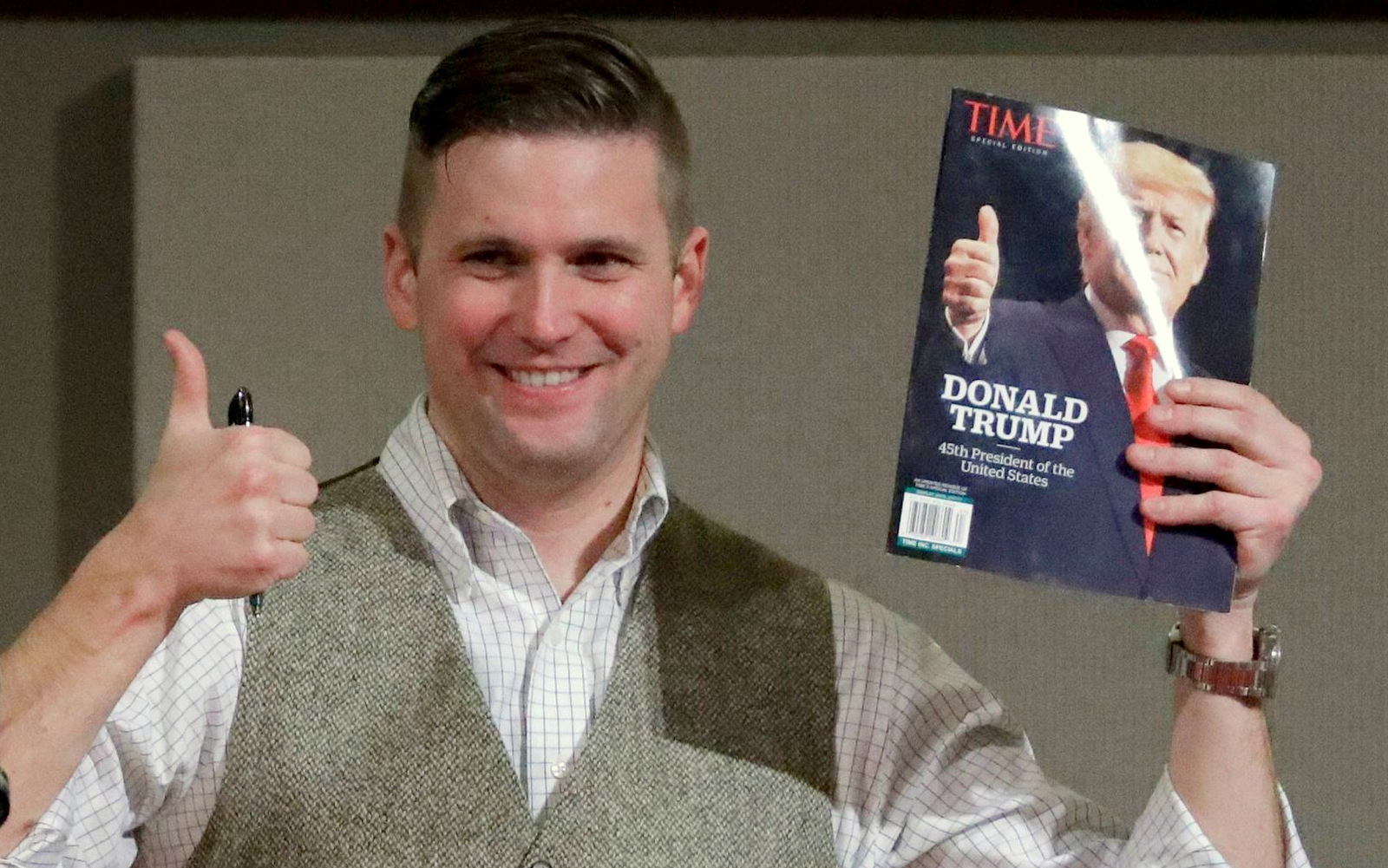 "Richard Spencer, the founder of the so-called ""alt-right"" movement, an offshoot of conservatism mixing racism, white nationalism and populism. (AP Photo)"