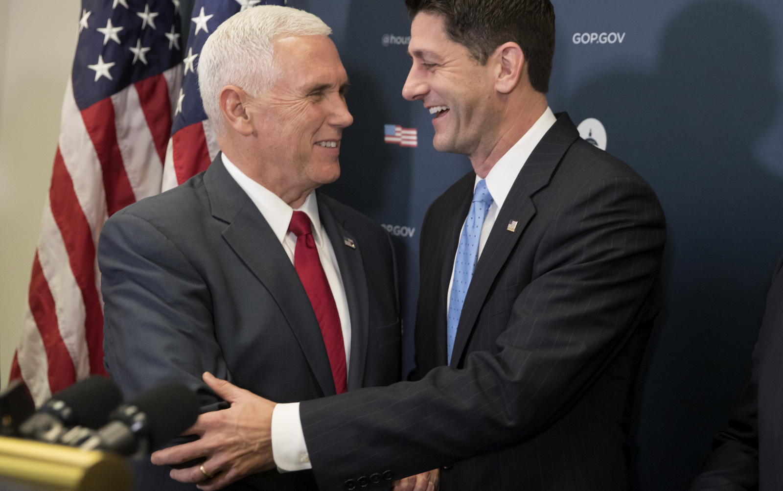 Vice President-elect Mike Pence is welcomed at a news conference on Capitol Hill in Washington, Wednesday, Jan. 4, 2017, by House Speaker Paul Ryan of Wis. following a closed-door meeting with the GOP caucus. (AP/J. Scott Applewhite)