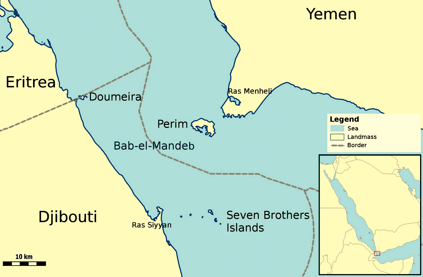 A Map of Bab-el-Mandeb, the world's primary oil route connecting the Red Sea to the Aiden Sea.