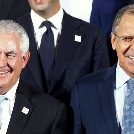 The Russian foreign minister Sergey Lavrov, right, and US Secretary of State Rex Tillerson stand together during the G-20 Foreign Ministers meeting in Bonn, Germany, Thursday, Feb. 16, 2017. (AP/Michael Probst)