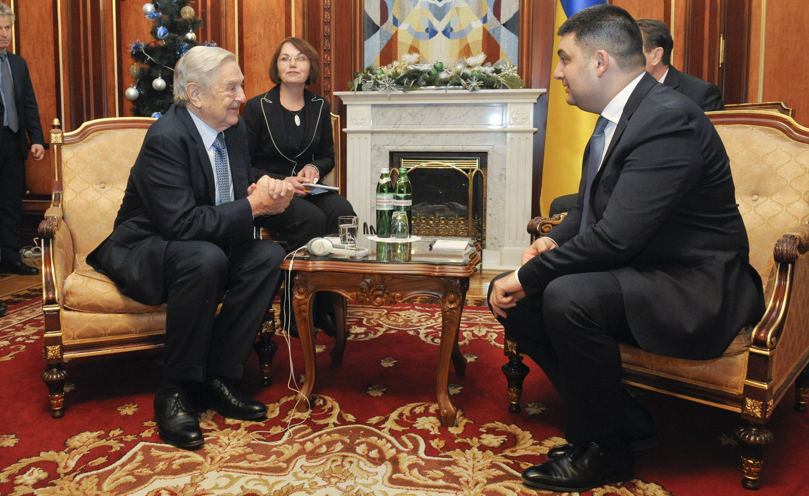 George Soros, left, chairman of Soros Fund Management and founder of The Open Society Institute, speak with Volodymyr Groysman, Ukrainian parliament speaker in Kiev, Ukraine, Monday, Jan. 12, 2015. (AP/Anastasiia Sirotkina)