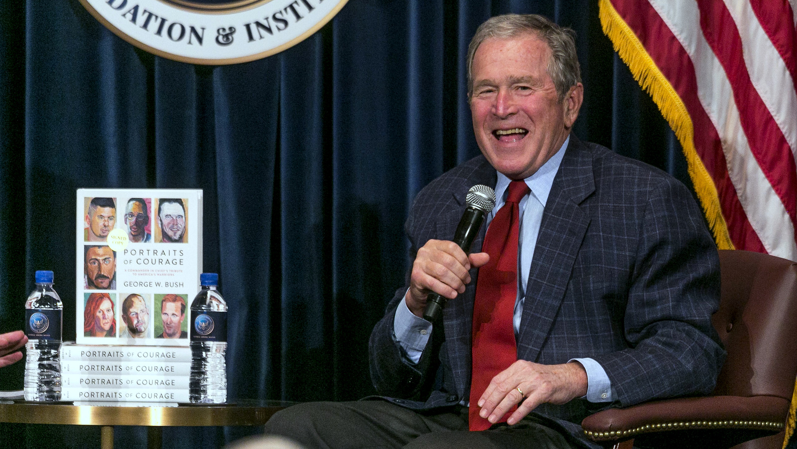 Former U.S. President George W. Bush discusses his new book at the Ronald Reagan Presidential Library in Simi Valley, Calif., Wednesday, March 1, 2017. (AP/Damian Dovarganes)