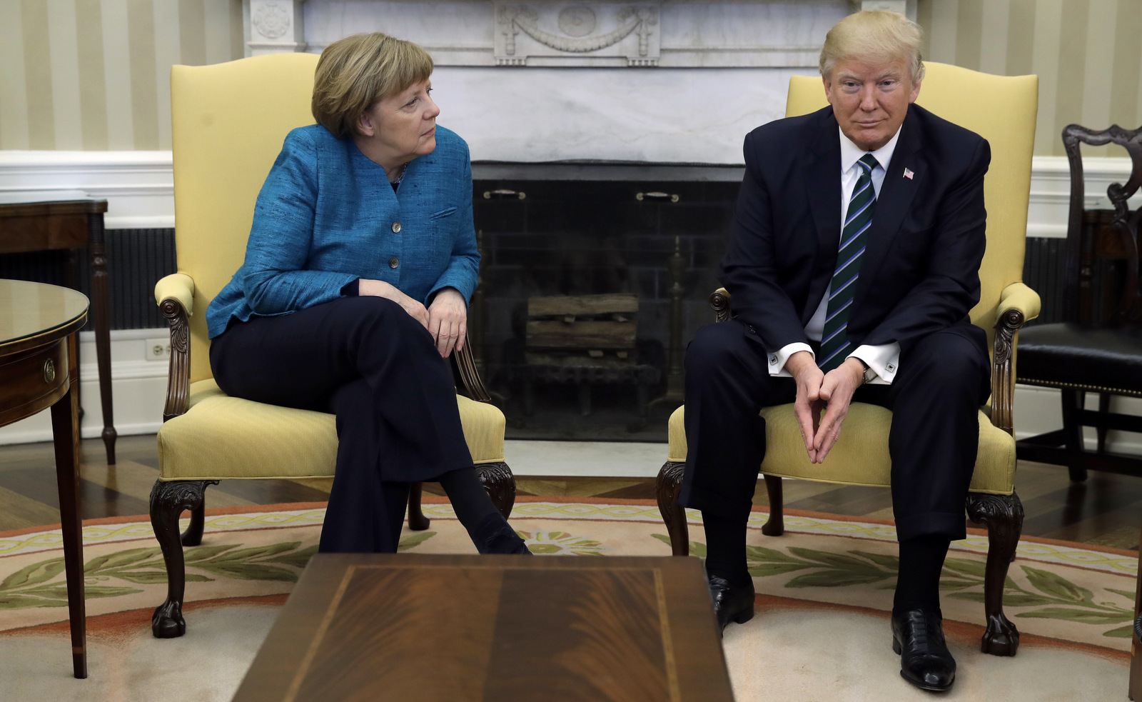 President Donald Trump meets with German Chancellor Angela Merkel in the Oval Office of the White House in Washington, Friday, March 17, 2017. (AP/Evan Vucci)