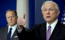 Attorney General Jeff Sessions, right, accompanied by White House press secretary Sean Spicer, talks to the media during the daily press briefing at the White House in Washington, March 27, 2017. (AP/Andrew Harnik)