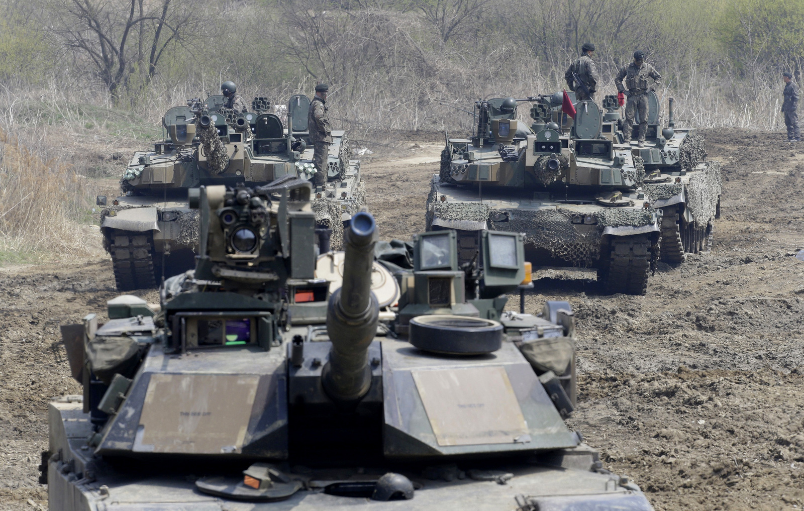 South Korean army soldiers stand on their tanks during a joint military exercise between the U.S. and South Korea in Paju, near the border with North Korea, South Korea, April 15, 2017.  (AP/Ahn Young-joon)