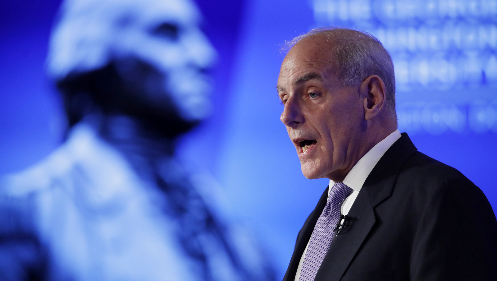 "Homeland Security Secretary John Kelly speaks during a forum ""Home & Away: Threats to America and the Department of Homeland Security response,"" April 18, 2017, at George Washington University in Washington. (AP/Manuel Balce Ceneta)"