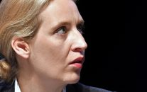 Alice Weidel watches from the podium at the party convention of Germany's far-right nationalist party AfD (Alternative for Germany) in Cologne, Germany, April 22, 2017. (AP/Martin Meissner)