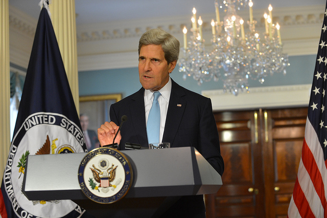 U.S. Secretary of State John Kerry on Aug. 30, 2013, claims to have proof that the Syrian government was responsible for a chemical weapons attack on Aug. 21, 2013, but that evidence failed to materialize or was later discredited. (Photo: State Department )